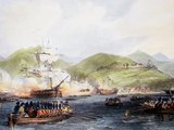 The First Anglo-Chinese War (1839–42), known popularly as the First Opium War or simply the Opium War, was fought between the United Kingdom and the Qing Dynasty of China over their conflicting viewpoints on diplomatic relations, trade, and the administration of justice.<br/><br/>  Chinese officials wished to stop what was perceived as an outflow of silver and to control the spread of opium, and confiscated supplies of opium from British traders. The British government, although not officially denying China's right to control imports, objected to this seizure and used its newly developed military power to enforce violent redress.<br/><br/>  In 1842, the Treaty of Nanking—the first of what the Chinese later called the unequal treaties—granted an indemnity to Britain, the opening of five treaty ports, and the cession of Hong Kong Island, thereby ending the trade monopoly of the Canton System. The failure of the treaty to satisfy British goals of improved trade and diplomatic relations led to the Second Opium War (1856–60). The war is now considered in China as the beginning of modern Chinese history.